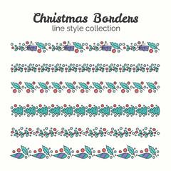 Christmas Borders. Set of Christmas Seamless Ribbons.
