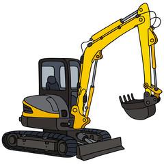 Yellow small excavator