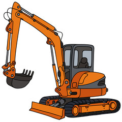 Orange small excavator