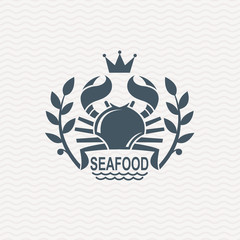 monochrome seafood icon with crab