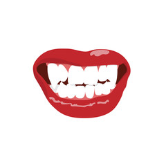 Vampire teeth isolated on white background