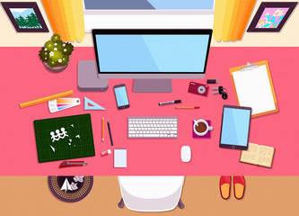 Flat Desktop Workspace Scene Top View