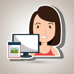 woman laptop camera paint color vector illustration eps 10