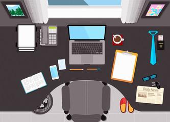 Flat Desktop Workspace Scene Top View