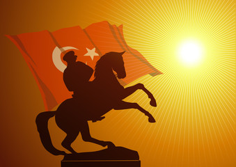 Mustafa Kemal Atatürk ve şahlanmış at