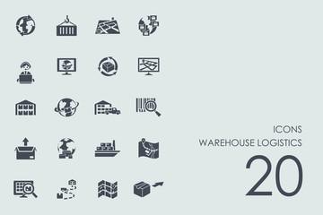 Set of warehouse logistics icons