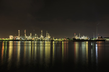 Bangchak Petroleum's oil refinery, beside the Chao Phraya River, Phra Khanong District, Bangkok, Thailand