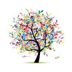 Colorful art tree for your design