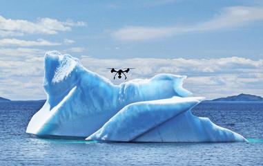 drone flies over iceberg