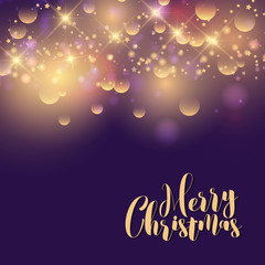 Merry Christmas greeting card on purple background with gold sparkles and confetti.