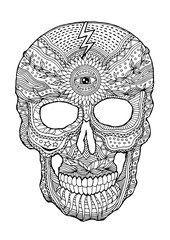 sugar skull day of the dead human head vector design illustration