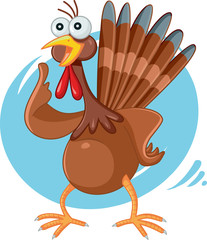 Scared Turkey Funny Vector Cartoon