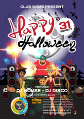Vector helloween party invitation disco style. Night club, dj, w