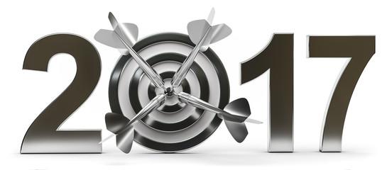 3d Zielscheibe um die Ziele für das Jahr 2017 festzusetzen Fototapete