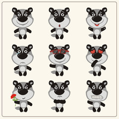 Vector set isolated emotion badger. Collection cute badger in cartoon style.