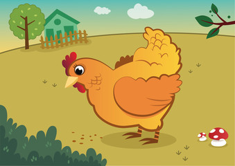 A yellow chicken vector illustration on a farm.