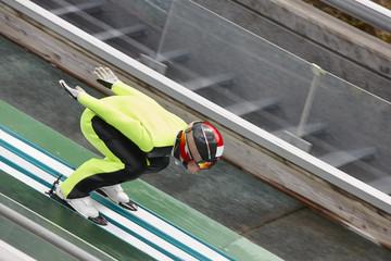 Ski jump. Artificial track. Winter sport. Norwegian summer.