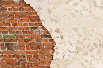 Old broken wall from red brick and white concrete, background, texture
