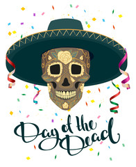 Day of Dead. Skull in Mexican Hat. Dia de Muertos