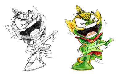 Thai Giant Enjoy Playing electric guitar character Design