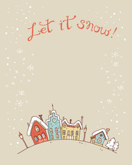 Hand drawn vector sketchy christmas and new year card with snowf
