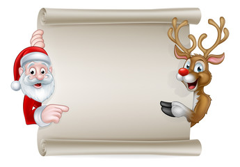 Cartoon Santa and Christmas Reindeer Scroll