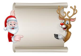 Cartoon Santa and Christmas Reindeer Scroll