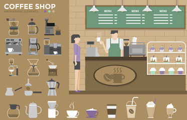 Coffee Shop Infographics Elements. Coffee Machine.