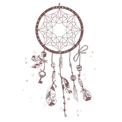 Hand drawn vector Native American Indian talisman dreamcatcher w