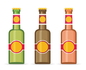 Beer bottles with labels isolated on white background.