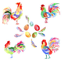 Watercolor bright festive roosters. New year symbol. Beautiful s