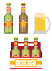 Beer set  isolated on white background. Flat style icon. Vector