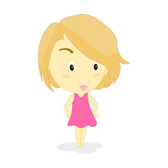 Little girl short hair illustration, on white background.
