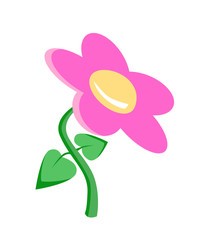 Flat Flower. Isolated Vector Elements.