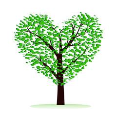 Love tree on white background, illustration.