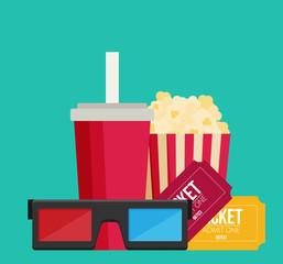 Cinema design in flat style, Vector illustration.