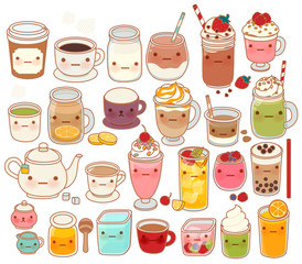 Collection of lovely hot and cold drink icon , cute tea , adorable milk , sweet coffee , kawaii smoothie, girly matcha green tea Isolated on white in childlike manga cartoon style - Vector file EPS10