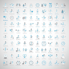 Snowman Icons Set - Isolated On Gray Background.Vector Illustration,Graphic Design.Collection Of Xmas Icons.For Web,Websites,Print,Presentation Templates,Mobile Applications And Promotional Materials