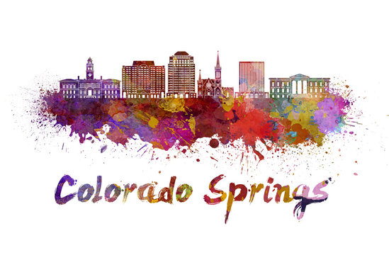 Colorado Springs V2 skyline in watercolor