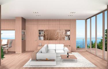 Modernes Wohnzimmer und Esszimmer Interior mit Balkon und Buchenholz Vertäfelung
