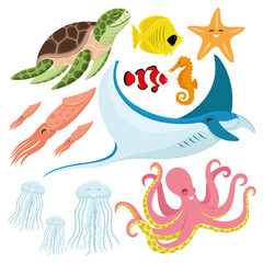 Sea turtle, fish, starfish, seahorse, squid, stingray, jellyfish, and octopus.