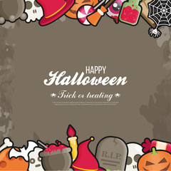 Halloween Concept Banner With Flat Icon Set on Orange Textured