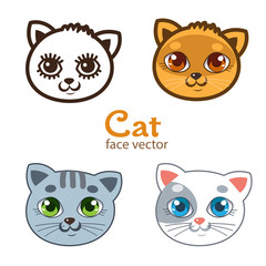 Vector Set Of Different Cartoon Cats Faces. Cartoon Animals Head Icon Vector. Cute Baby Cat Image Illustrations For Kids. Cats Funny Painted Faces.