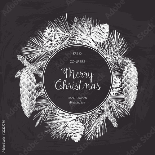 Vintage Design for Christmas Card or Invitation. Vector Frame with ...