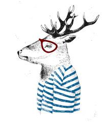 Fototapete - dressed up deer in hipster style