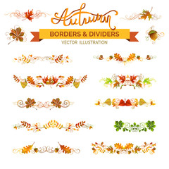 Set of autumn leaves borders, page decorations and dividers.