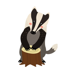 Standing Badger cartoon character. Isolated on white background. Vector illustration.