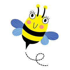 Happy Bee flying cartoon character. Isolated on white background. Vector illustration.
