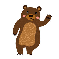 Standing Bear raising hand cartoon character. Isolated on white background. Vector illustration.