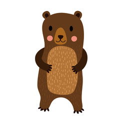 Standing Bear cartoon character. Isolated on white background. Vector illustration.